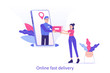 Online fast delivery service concept. Young delivery man or courier popping from huge smartphone screen and delivering a package or box to happy woman. Delivery home or office. Vector illustration