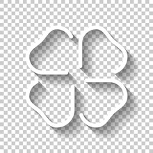Four Leaf Clover, St Patricks Day Sign, Outline Design. White Icon With Shadow On Transparent Background