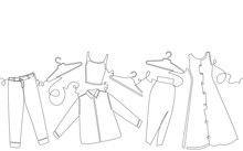 Vector Background With Clothes And Hangers. One Line Continuous Drawing Style. Hand Drawing Pattern.