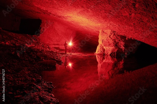 Person In Illuminated Cave Fototapet
