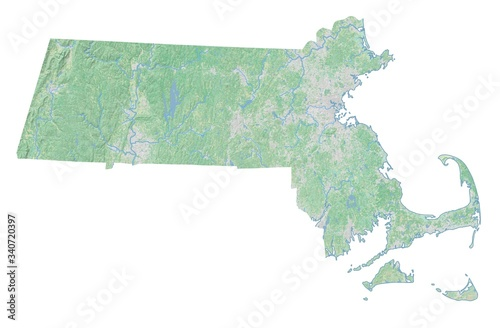 Valokuvatapetti High resolution topographic map of Massachusetts with land cover, rivers and shaded relief in 1:1