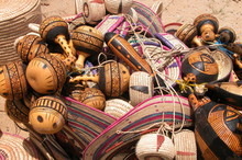 High Angle View Of Baskets In Market For Sale