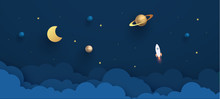 Night Sky With Planets. Paper Art Style Of Rocket Flying In Space, Start Up Concept, Flat-style. Paper Cut Design. Vector Illustration.