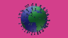 Spinning, Global Corona Virus On Coloured Background With Alpha Channel