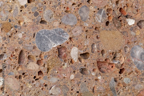 Fotografija Surface of a conglomerate from the Alps in Southern Germany, so called Nagelfluh