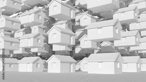 3d array of small white houses, futuristic town block