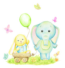 Bunny, Yellow, Elephant, Blue, Balloon, Butterflies. Watercolor Concept On An Isolated Background. Cute Animals, Cartoon Style.