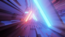 3D Rendering Of Trippy Triangular Hallway Illustration In Blue And Orange Colors