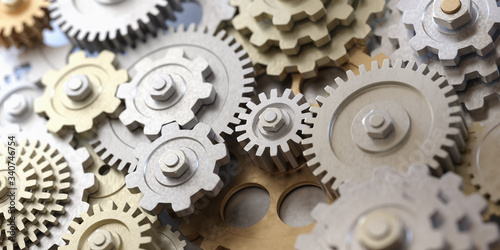 Fototapeta Metallic gears and cogs. 3D rendered illustration. obraz