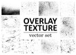 Grunge overlays vector. Different paint textures with splay effect and drop ink splashes. Dirty grainy stamp and scratches and damage marks. Urban grunge overlay. Vector illustration