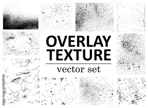 Obraz Grunge overlays vector. Different paint textures with splay effect and drop ink splashes. Dirty grainy stamp and scratches and damage marks. Urban grunge overlay. Vector illustration - fototapety do salonu