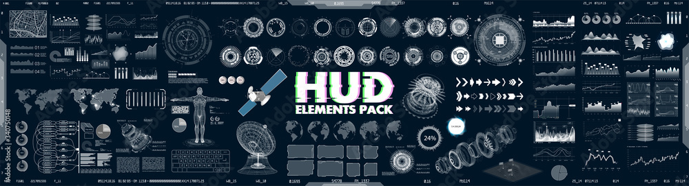 Fototapeta Big collection HUD, GUI elements for VR, UI design. Futuristic User Interface set (charts, graphic, futuristic circle gadgets, 3d body model, world map, infographics and other) Sky-fi elements. Vector