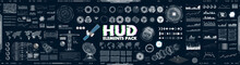 Big Collection HUD, GUI Elements For VR, UI Design. Futuristic User Interface Set (charts, Graphic, Futuristic Circle Gadgets, 3d Body Model, World Map, Infographics And Other) Sky-fi Elements. Vector