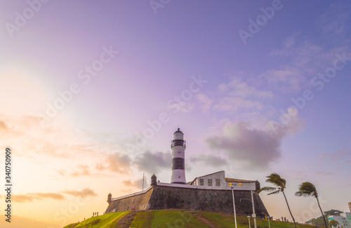 Barra Lighthouse in front of the sea in the city of Salvador Bahia at sunset Canvas Print