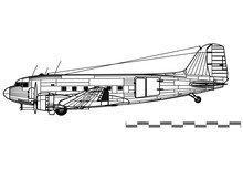 Douglas C-47 Skytrain, Dakota, DC-3. World War 2 Transport Aircraft. Side View. Image For Illustration And Infographics.