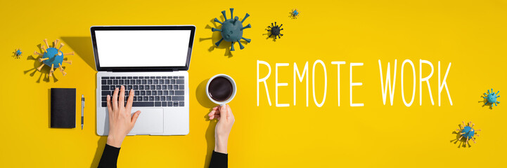 Remote Work theme with laptop computer with viruses