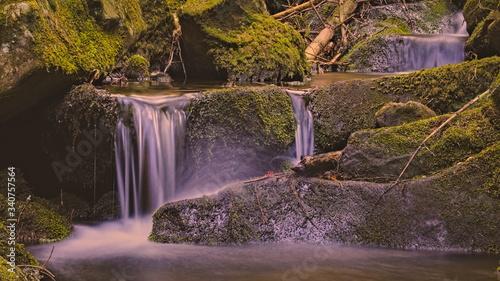 leśny strumień e sudetach u podnóża góry Wolarz