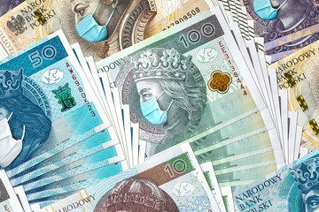 All Polish banknotes with face mask against Coronavirus which hit Polish economy causing recession and bankruptcy of thousands of companies.