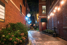 Narrow Alley Between Old Brick...