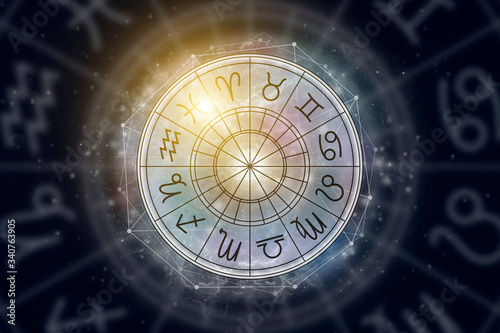 Astrological circle with the signs of the zodiac on a background of the starry sky Canvas Print