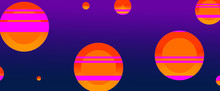 Colorful Dark Purple Blue Background With Bright Orange And Yellow Circles With Pink Stripes In Retrowave Design Element, Abstract Background Trend In Geometric Pattern