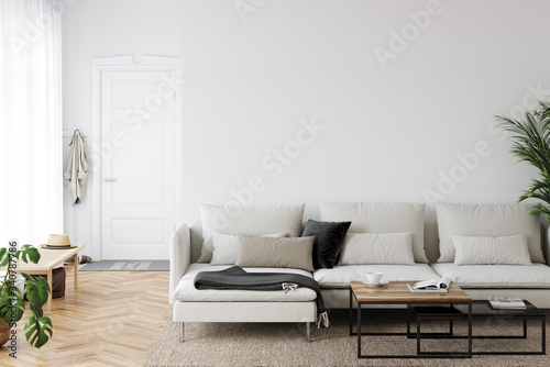 Obraz Wall mockup in scandinavian interior. Interior wall mockup. Wall art. 3d rendering, 3d illustration - fototapety do salonu
