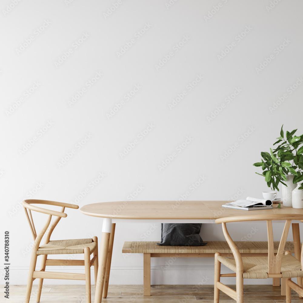 Fototapeta Wall mockup in scandinavian interior. Interior wall mockup. Wall art. 3d rendering, 3d illustration