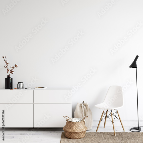 Fototapeta Wall mockup in scandinavian interior. Interior wall mockup. Wall art. 3d rendering, 3d illustration obraz