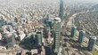 Aerial closing on top of tallest buildings in South America in the middle of the financial district, Santiago de Chile.4K