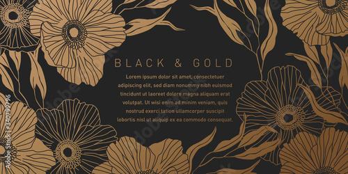 Black and Gold Botanical Background - 340799796