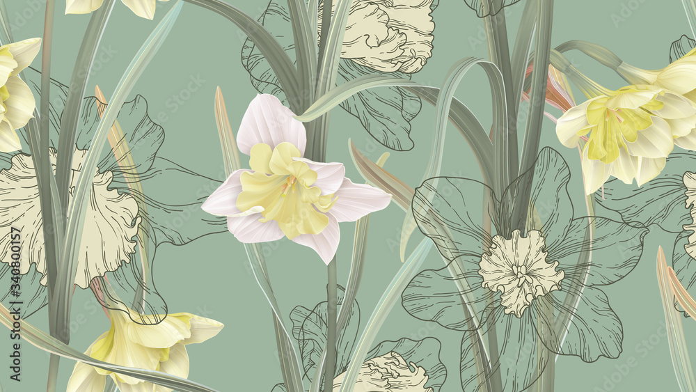 Floral seamless pattern, daffodil flowers with leaves on green