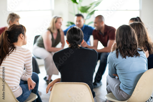 People in a support group Canvas Print