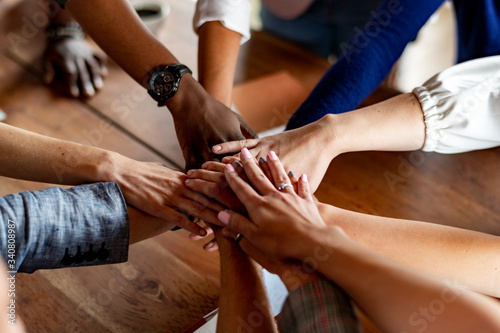 Fototapeta Business people with their hands together obraz