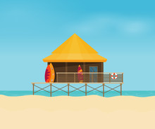 Summer Holidays Vector Illustration Flat. Bungalow