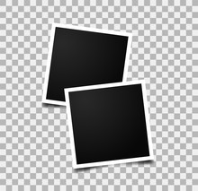 Realistic Photo Frames. Images On Wall. Retro Memory Album. Vector Empty Photos Frame.