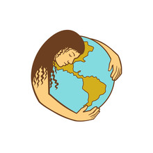 Retro Style Illustration Of Mother Earth Or Gaia, A Goddess Who Inhabits The Planet, Offering Life And Nourishment, Hugging The World Or Globe On Isolated Background.