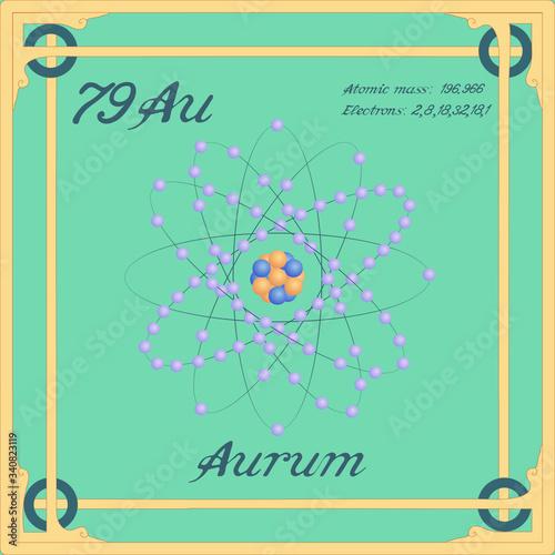 Photo Periodic table element. Aurum colorful icon. Vector.