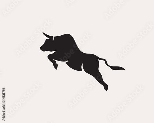 Jump up high bull logo design inspiration