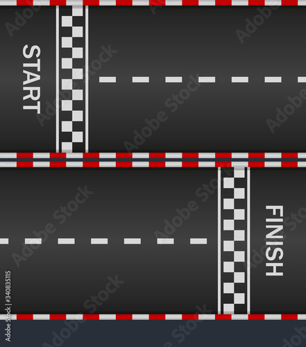 Fotografía Race track with start and finish line for car