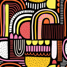 Abstract Seamless Vector Pattern Doodle Shapes Collage. Cute Geometric Shapes And Doodles Kids Background Pink Red Yellow Orange On Black. Modern Backdrop For Kids, Fabric, Home Decor