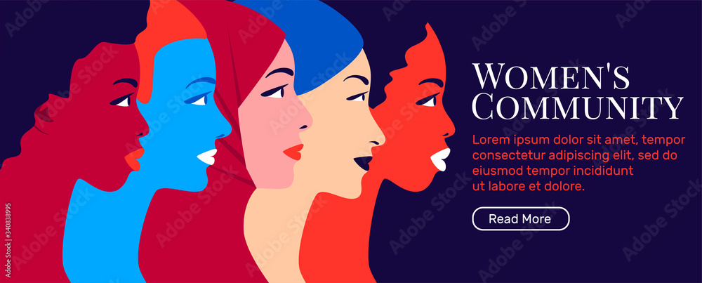 Fototapeta Multinational sisterhood community. Multiethnic group of young women in profile. Concept for global social campaign. Bright vector illustration in flat style. Equality and womens rights.