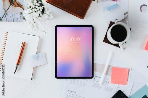 Obraz Workstation with digital tablet - fototapety do salonu