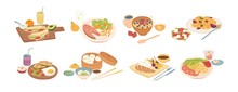 Set Of Different Breakfast, Lunch And Dinner Isolated On White Background. Collection Of Cartoon Appetizing Fresh Food And Drink Vector Graphic Illustration. Tasty Colorful Serving Dish