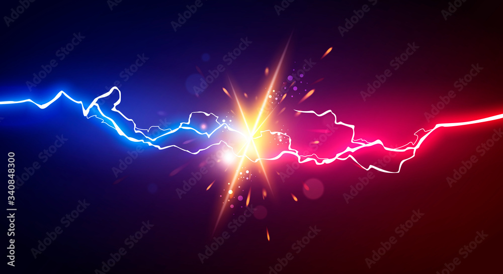 Fototapeta Vector Illustration Abstract Electric Lightning. Concept For Battle, Confrontation Or Fight
