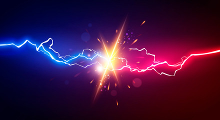 Vector Illustration Abstract Electric Lightning. Concept For Battle, Confrontation Or Fight