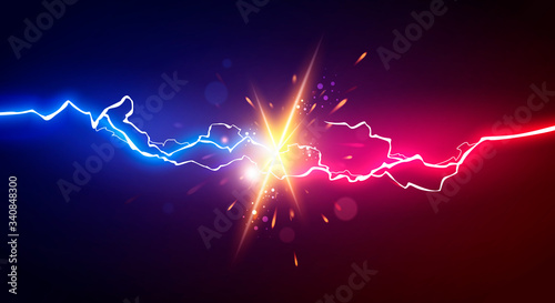 Obraz Vector Illustration Abstract Electric Lightning. Concept For Battle, Confrontation Or Fight - fototapety do salonu
