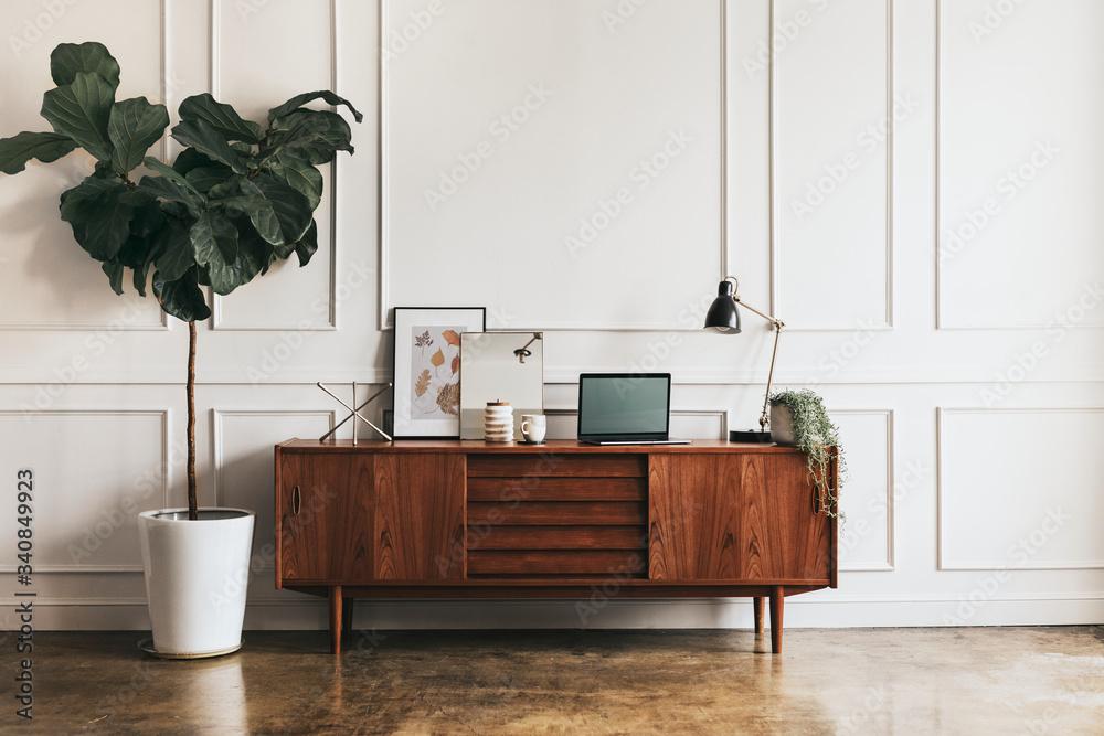 Fototapeta Mid century modern living room