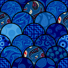 Ornamental Pattern In Ffish Scale Style. Vector Image.
