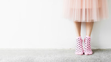 Woman Standing In Pink Socks B...