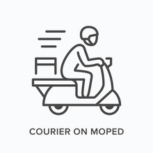 Courier On Moped Line Icon. Ve...